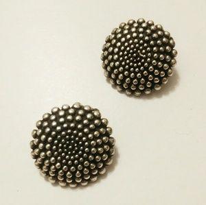 Vintage silver modernist pebble sterling earrings